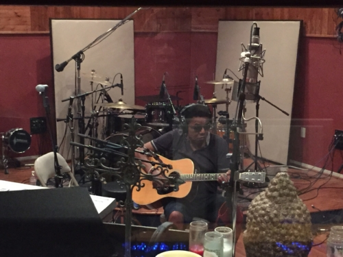 Tito Jackson tracking acoustic guitar for the 3T single 'Power of Love'